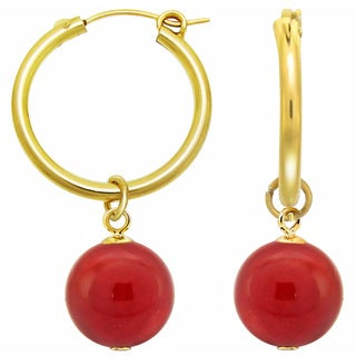 DaVonna 24k Yellow Gold over Sterling Silver Red Coral Hoop Dangle Earrings