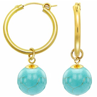 DaVonna 24k Yellow Gold over Sterling Silver Blue Turquoise Hoop Dangle Earrings