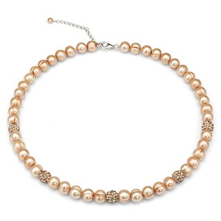 DaVonna Golden Freshwater Cultured Pearl and Cubic Zirconia Balls Strand Necklace
