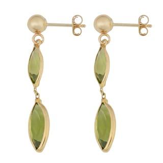 Fremada 14k Yellow Gold Marquise-shaped Peridot Drop Post Earrings