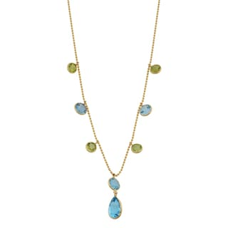 Fremada 14k Yellow Gold Blue Topaz and Peridot Lariat Necklace (16 inches)