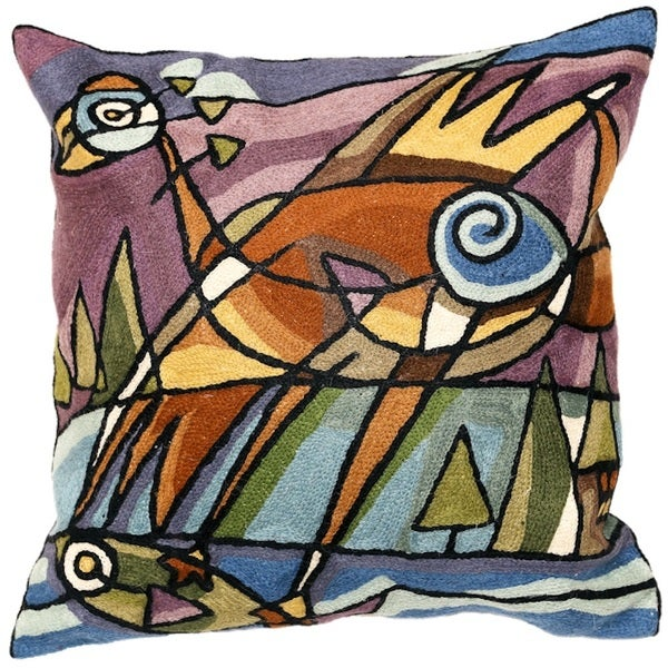 Bird with Fish Hand-embroidered Chain-stitch Throw Pillow