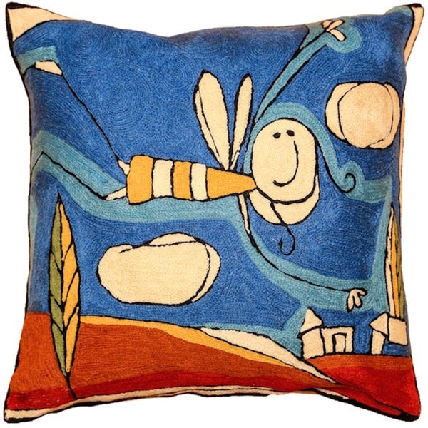 Bee Hand-embroidered Chain-stitch Throw Pillow