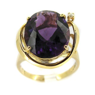 Kabella 14k Yellow Gold Oval Amethyst and Diamond Accent Ring