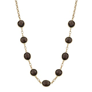 Fremada 14k Yellow Gold Smoky Quartz Station Necklace (18 inches)
