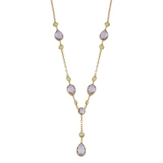 Fremada 14k Yellow Gold Pear-shaped Amethyst and Round Lemon Quartz Drop Necklace (17 inches)
