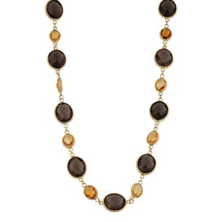 Fremada 14k Yellow Gold Smoky Quartz and Citrine Necklace (17 inches)