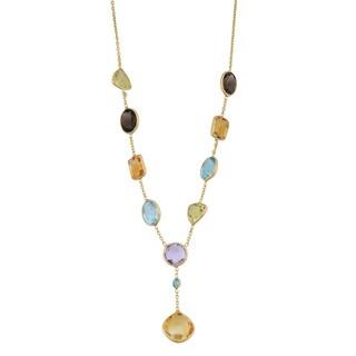 Fremada 14k Yellow Gold Stylish Semi Precious Stones Drop Necklace (17 inches)