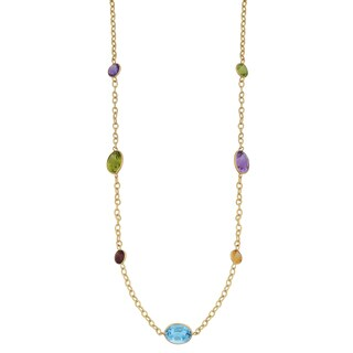 Fremada 14k Yellow Gold Multi Gemstones Station Necklace (17 inches)