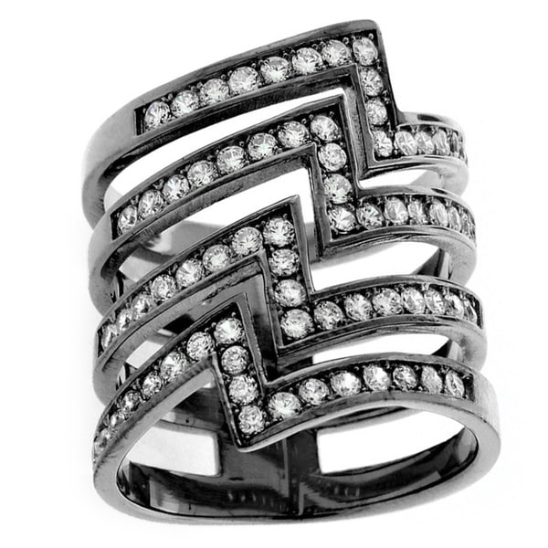 Sterling Silver Cubic Zirconia Micro Pave Zigzag Lightning Bolt Ring