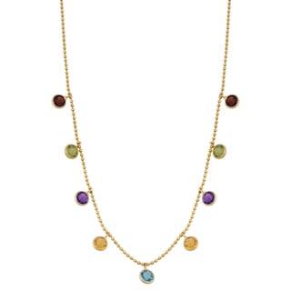 Fremada 14k Yellow Gold Stylish Multi Gemstones Cleopatra Necklace (16 inches)