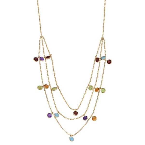 Fremada 14k Yellow Gold Three-row Multi Gemstones Cleopatra Necklace (16 inches)