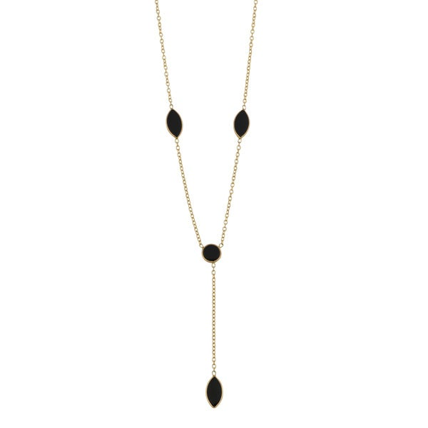 Fremada 14k Yellow Gold Marqise Onyx Lariat Necklace (16 inches)