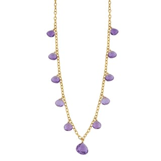 Fremada 14k Yellow Gold Amethyst Briolette Cleopatra Necklace (18 inches)