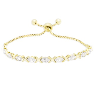 Finesque Gold Over Silver Or Sterling Silver Diamond Accent XO Adjustable Bolo Bracelet