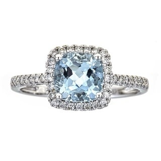 Anika and August 14k White Gold Cushion-cut Aquamarine and 1/4ct TDW Diamond Ring (G-H, I1-I2)