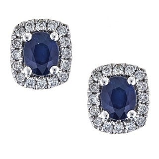 Anika and August 14k White Gold Oval-cut Blue Sapphire and 1/4ct TDW Diamond Earrings (G-H, I1-I2)