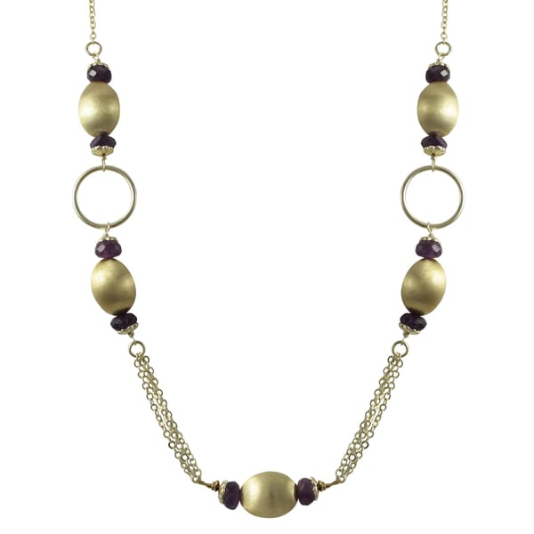 Brushed Gold Finish Purple Amethyst Semi-precious Gemstone Necklace
