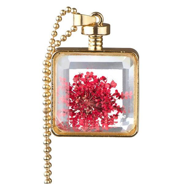 Alloy Gold Color Flower Glass Locket Necklace