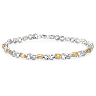 Sterling Silver Citrine and White Diamond Accent Infinity Link Tennis Bracelet