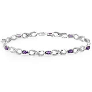 Sterling Silver Amethyst and White Diamond Accent Infinity Link Tennis Bracelet