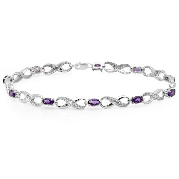 Elora Sterling Silver Amethyst and White Diamond Accent Infinity Link Tennis Bracelet 17206744