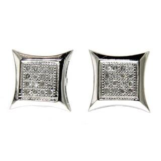14k White Gold Diamond Accent Kite Shape Hip Hop Stud Earrings (G-H, SI3)
