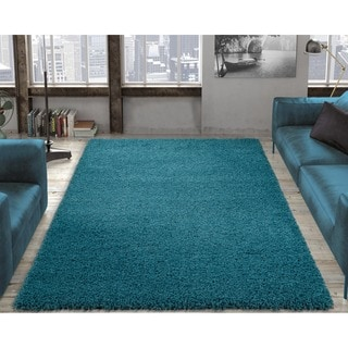 "Ottomanson Shag Collection Solid Area Rug (6'7"" X 9'3"")"