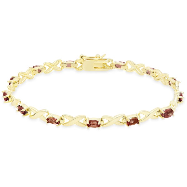 Dolce Giavonna Gold Over Sterling Silver Oval Cut Gemstone XO Link Bracelet 17206889