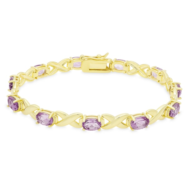 Dolce Giavonna Gold Over Sterling Silver Oval Cut Gemstone XO Link Bracelet 17206897
