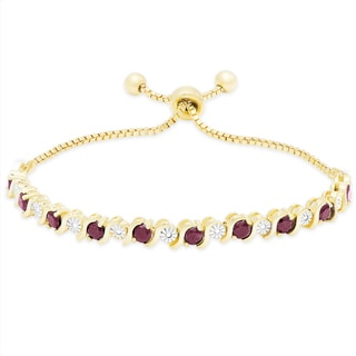 Dolce Giavonna Gold Over Sterling Silver Gemstone Adjustable Bracelet