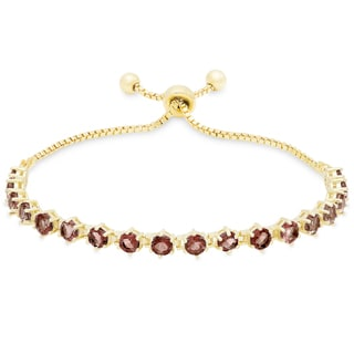Dolce Giavonna Gold Over Sterling Silver Gemstone Tennis Style Adjustable Bracelet