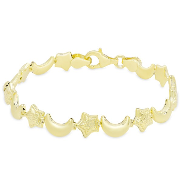 Dolce Giavonna Gold Over Silver or Sterling Silver Moon and Stars Link Bracelet