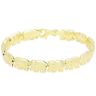 Dolce Giavonna Gold Over Silver Or Sterling Silver Elephant Design Link Bracelet