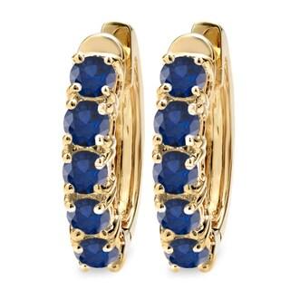 14k Yellow Gold Blue Sapphire Hoop Earrings