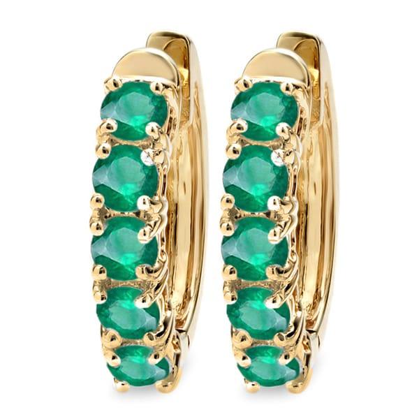 14k Yellow Gold Emerald Ladies Hoop Earrings