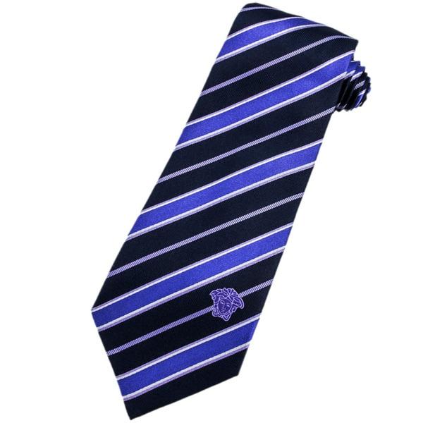 Versace 100-percent Italian Silk Navy/ Blue/ White Stripe Neck Tie