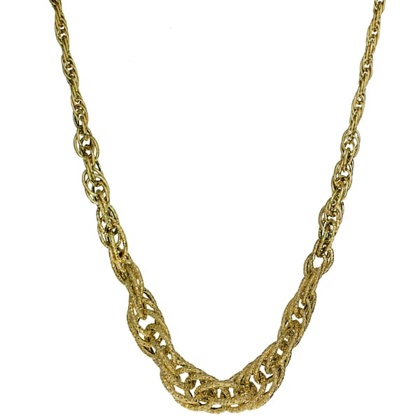 14k Yellow Gold 4-10mm Graduated Open Rope Necklace