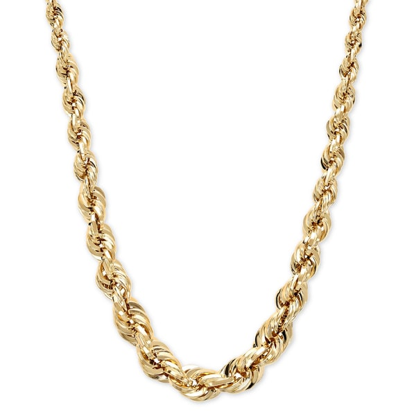 14k Yellow Gold 5-10mm Graduated Rope Necklace