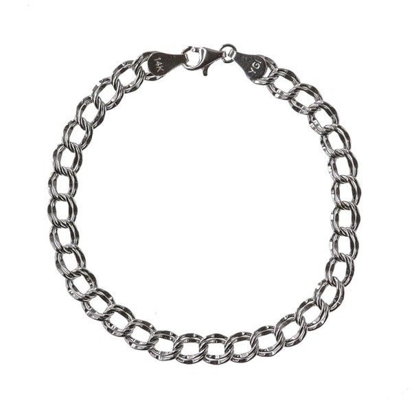 14k White Gold Simple Charm Bracelet