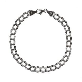14k White Gold Simple Charm Bracelet