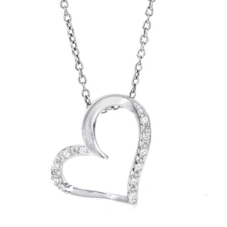 H Star Sterling Silver Diamond Accent Side Heart Necklace (H-I, I1-I2)