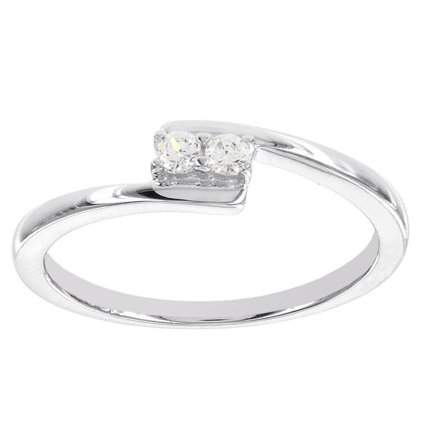 H Star Sterling Silver 1/10ct 2-stone Diamond Promise Ring (I-J, I2-I3)