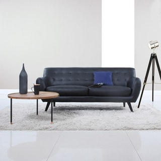 Mid Century Modern Bonded Leather Sofa Seat Living Room Furniture