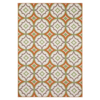 Rizzy Home Glendale Collection PowerLoomed Ivory Patterned Geometric Area Rug (7'10 x 10'10)