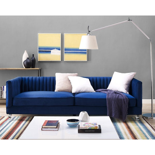 Aviator Navy Velvet Sofa