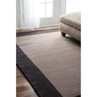nuLOOM Handmade Solid Border Wool Charcoal Rug (8'3 x 11')
