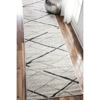 nuLOOM Contemporary Striped Grey Runner Rug (2'5 x 9'5)