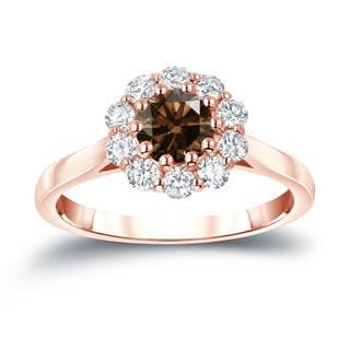 Auriya 14k Gold 1ct TDW Round-Cut Brown Diamond Halo Ring (Brown, I1-I2)