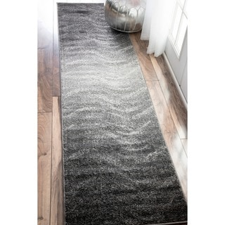 nuLOOM Contemporary Ombre Waves Grey Runner Rug (2'5 x 9'5)